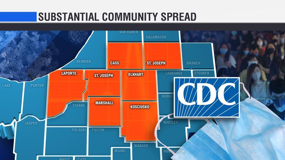 CDC Community Spread, seven Michiana counties are in the orange.