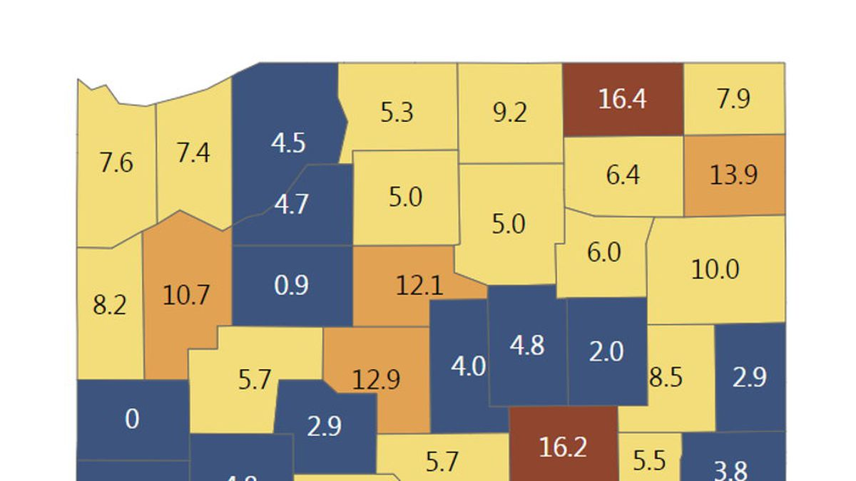 Seven-day positivity rate in northern Indiana