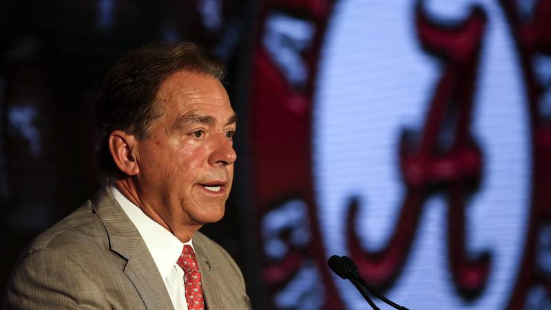 Alabama head coach Nick Saban speaks to reporters during the NCAA college football Southeastern...