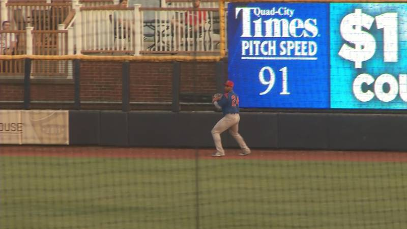 South Bend Cubs outfielder Nelson Velazquez catches fly ball against the Quad Cities River...