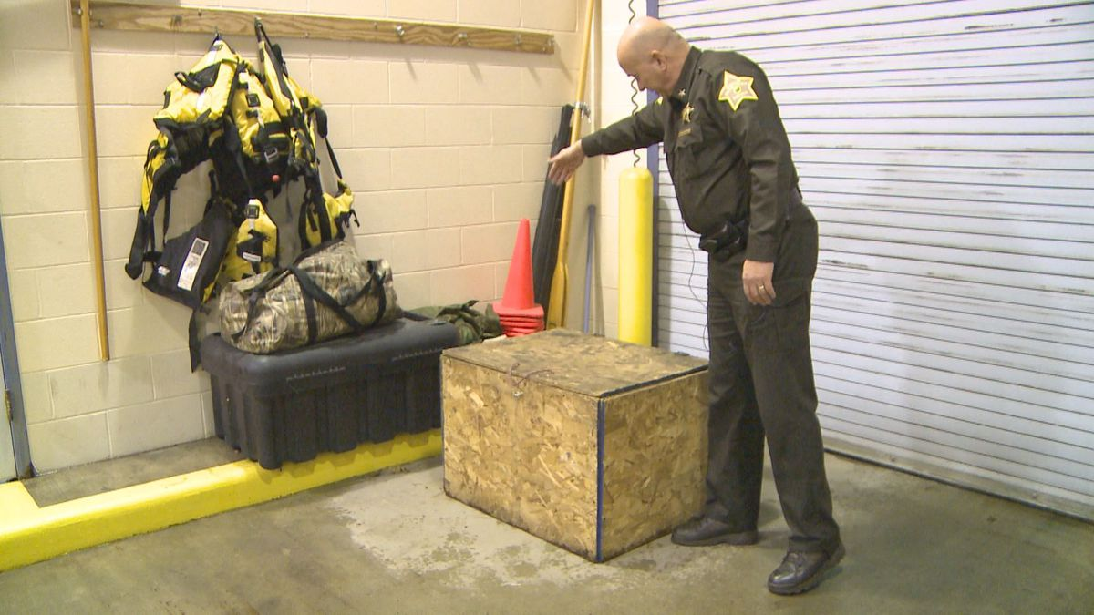 Sheriff Jeffrey Richwine, explaining where the plywood box was positioned in the home.