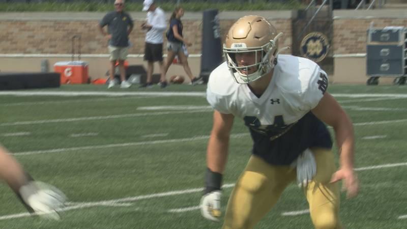 Irish linebacker Jack Kiser runs through practice drills inside Notre Dame Stadium in August of...