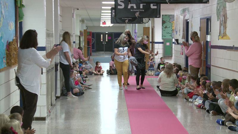 Ballard Elementary held a surprise parade to celebrate its teachers this morning.
