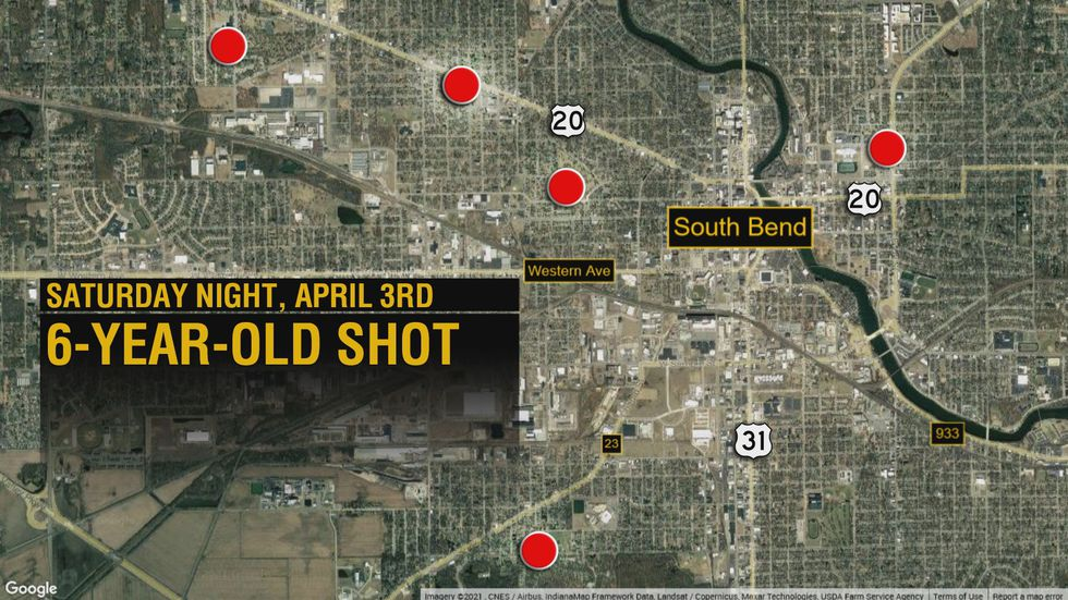 Map shows areas of shootings in South Bend since April 1st, 2021