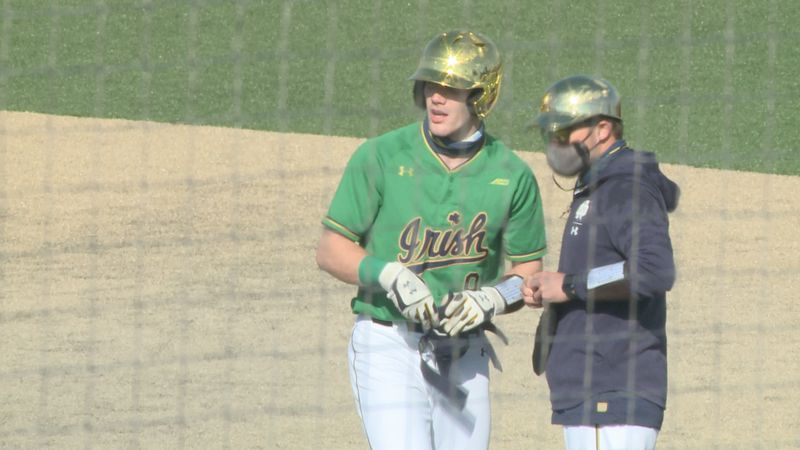 Jack Brannigan stands at first base after recording a single against Central Michigan.