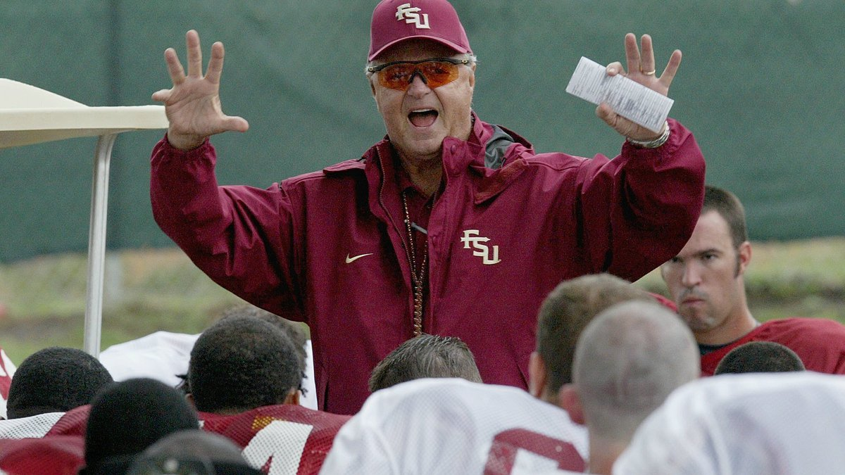 FILE - In this Aug. 13, 2004, file photo, Florida State head coach Bobby Bowden speaks to his...