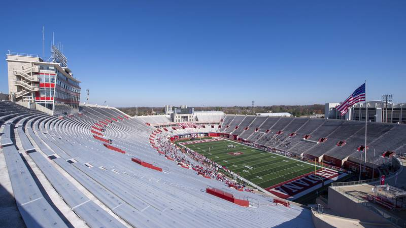 Indiana and Michigan compete in front of a small crowd comprised of family at Memorial Stadium...