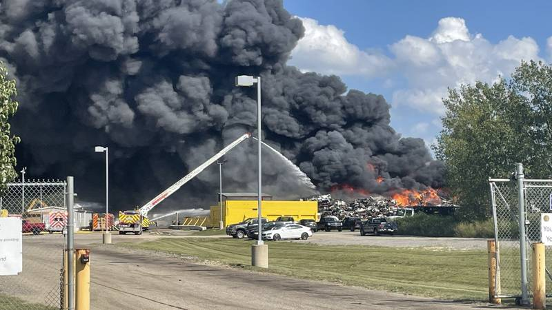 The fire broke out Tuesday afternoon at the OmniSource Scrap Yard on Smilax Road.