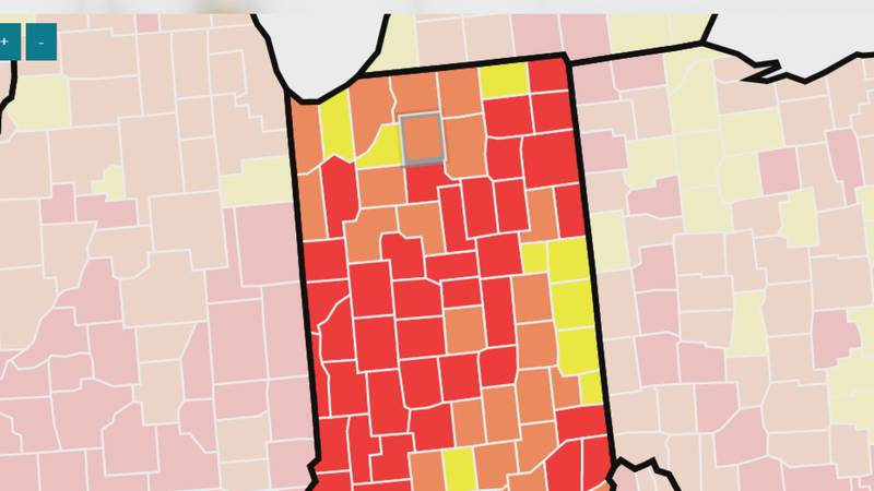 """There are seven counties the CDC moved to the orange category which means """"substantial""""..."""