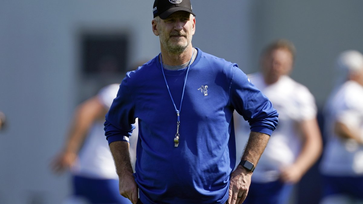 FILE - Indianapolis Colts head coach Frank Reich watches during NFL football practice in...