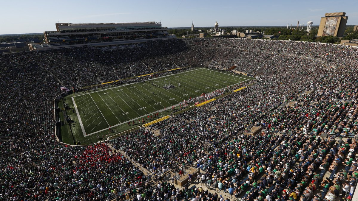 Notre Dame Stadium is shown in the first half of an NCAA college football game against New...