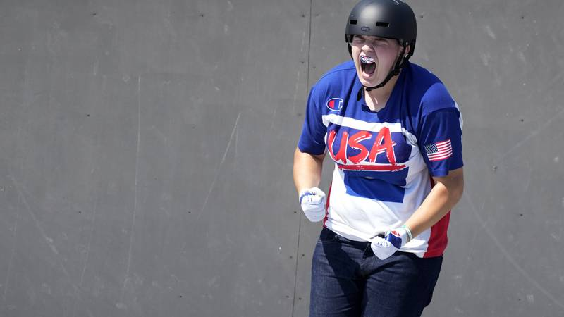in the women's Hannah Roberts of the United States reacts during competition in the women's BMX...
