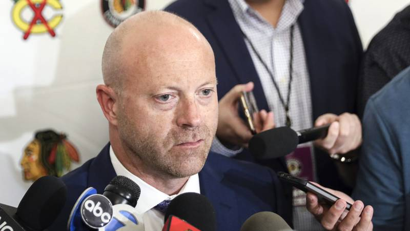FILE- In this July 26, 2019, file photo, Chicago Blackhawks senior vice president and general...