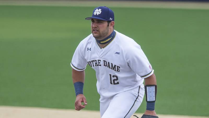 Notre Dame's Niko Kavadas at first base during an NCAA baseball game against Georgia Tech on...