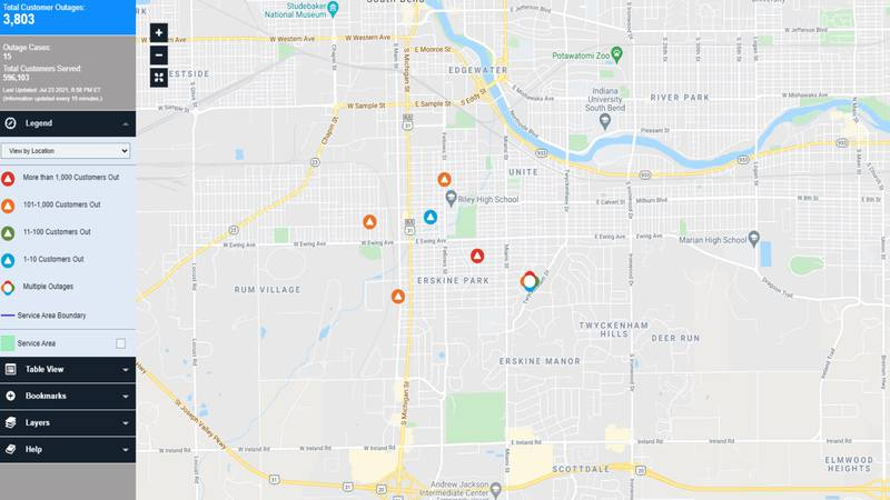 I&M says most of the outages are expected to be restored by 11:00 p.m.