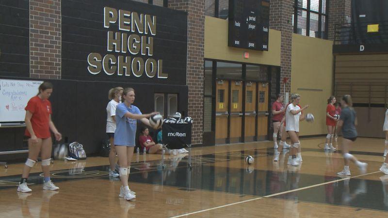 Penn High School volleyball practice