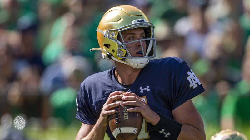 Notre Dame quarterback Jack Coan (17) during an NCAA football game against Purdue on Saturday,...