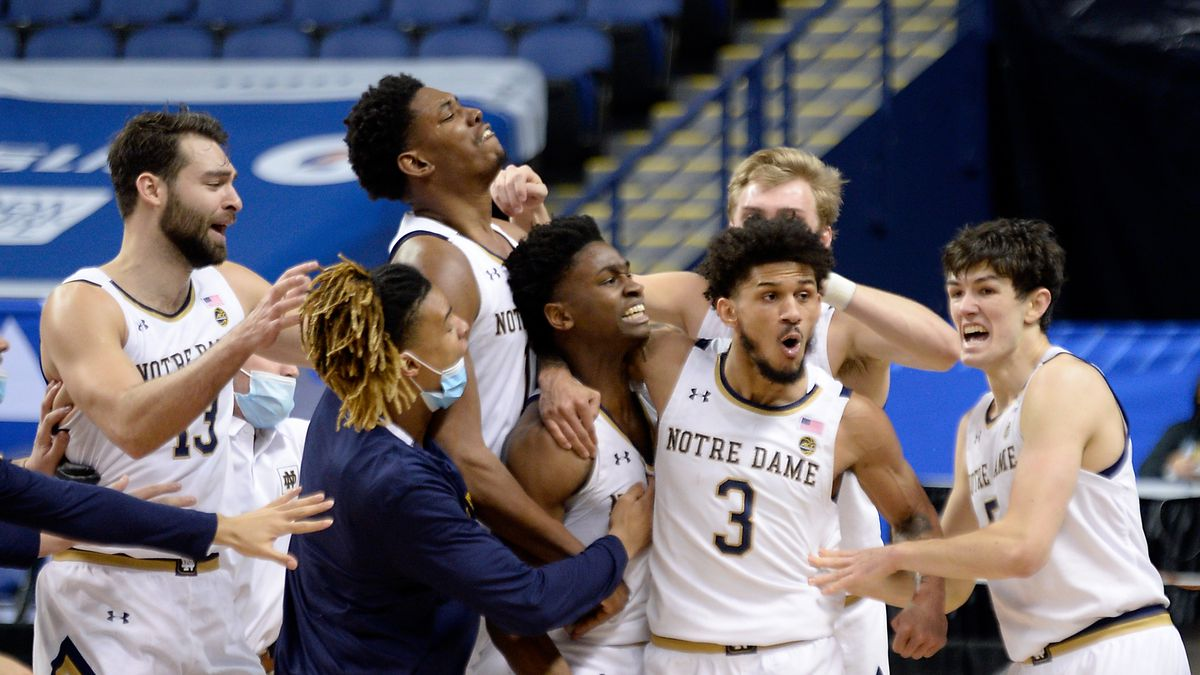 Notre Dame celebrates beating Wake Forest during the 2021 New York Life ACC Mens Basketball...