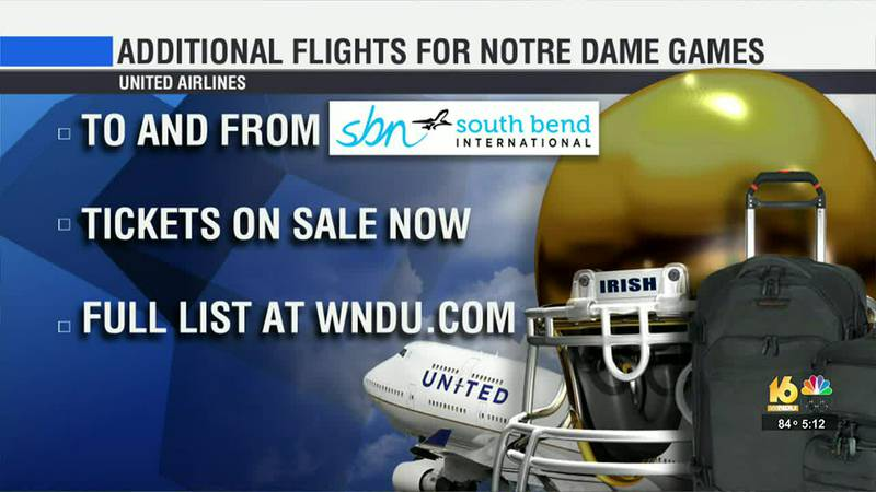 The earliest added flight leaves from South Bend to Chicago in September for the Notre...