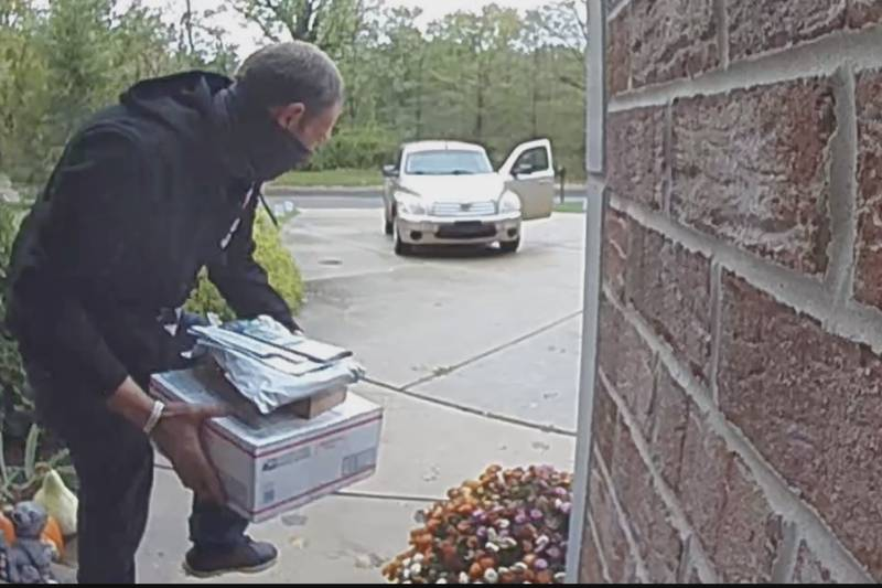 Thief caught on Ring security camera stealing packages from one New Buffalo resident.