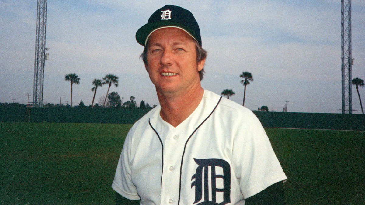 Al Kaline, outfielder for the Detroit Tigers, poses during spring training in Tampa, Fla.,...