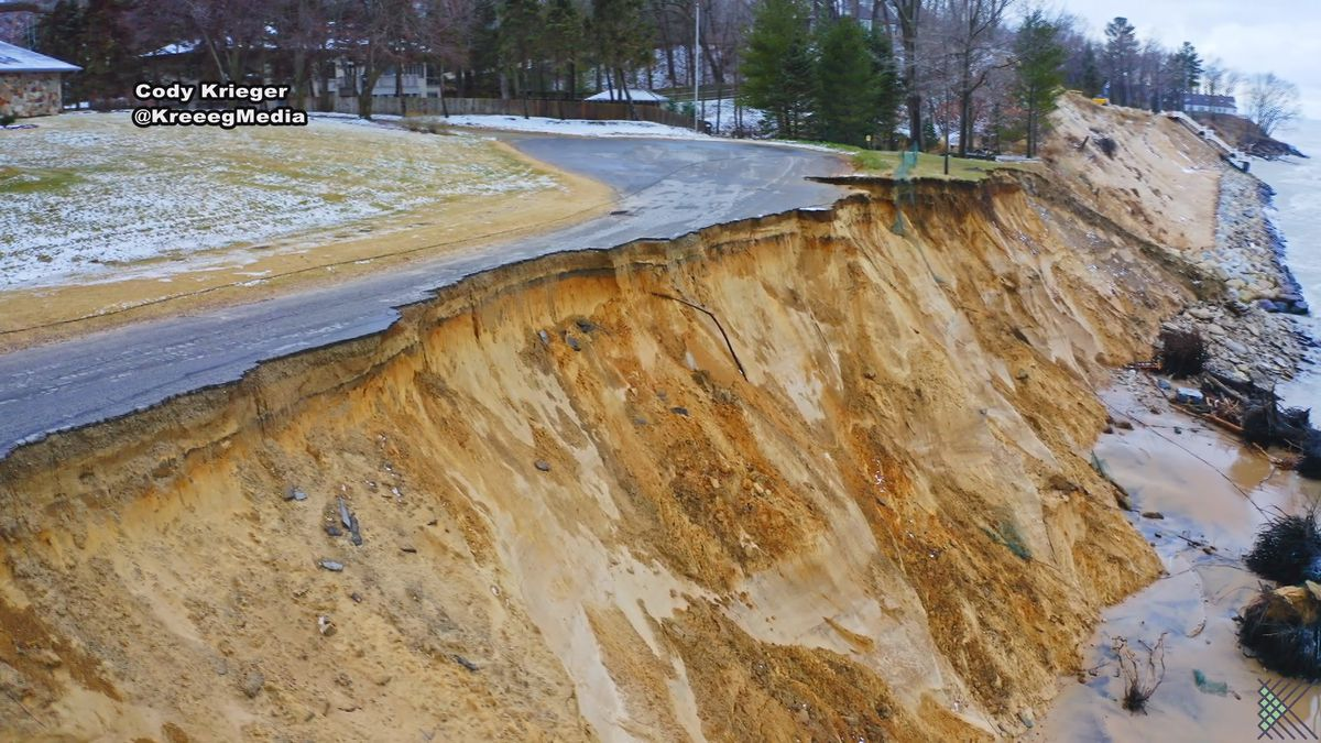 Road closed in Stevensville after more than half of it eroded because of waves along the shore.