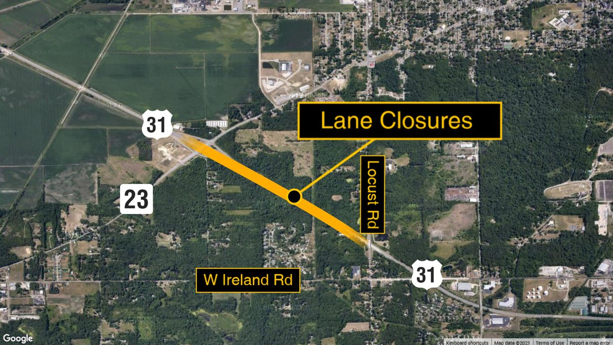 The right lane and outside shoulder will be shut down in both the eastbound and westbound...