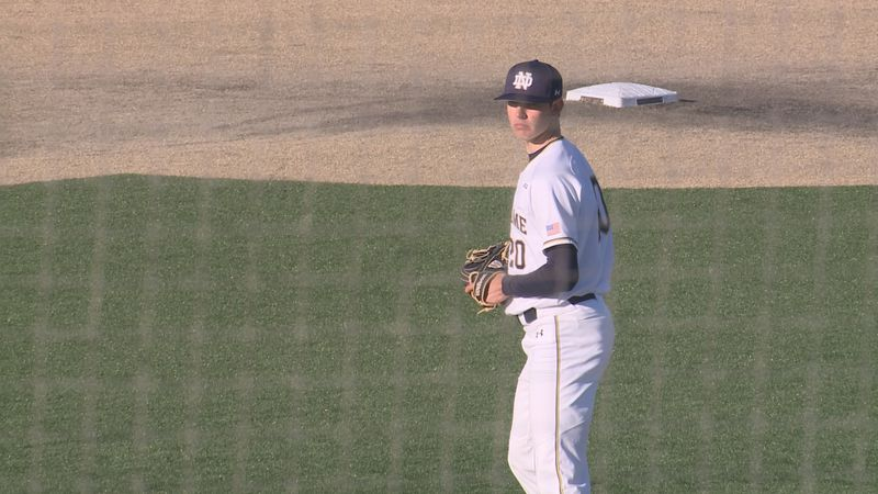 Kohlhepp on the mound for Notre Dame baseball's game on April 30, 2021 against North Carolina.