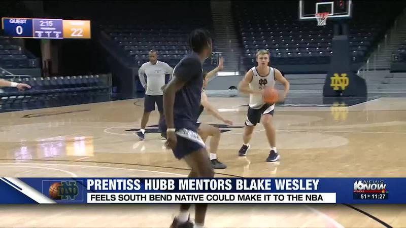Hubb mentoring Wesley for ND men's basketball