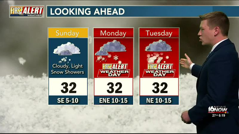 Light snow showers possible Sunday with no accumulation expected. A bigger system moves our way...