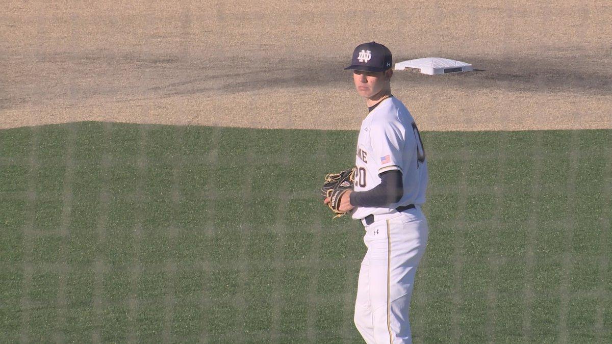 Kohlhepp on the mound for Notre Dame baseball's game on April 30, 2021 against North Carolina.