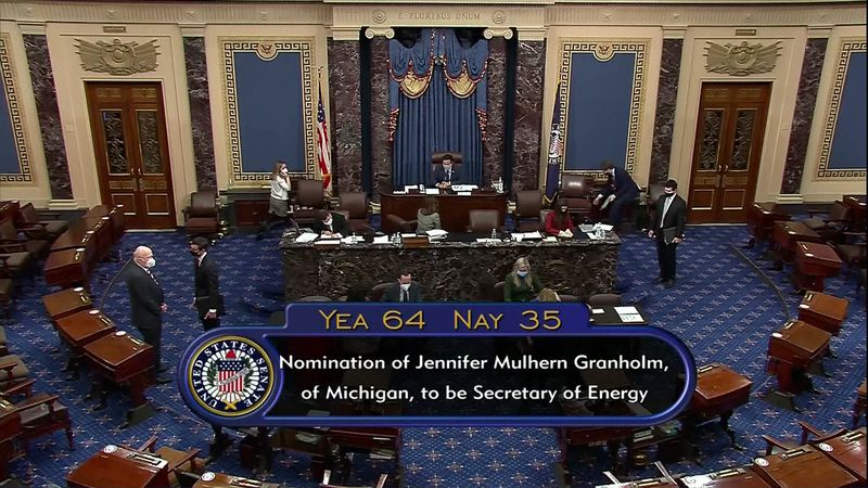 Former Michigan Governor Jennifer Granholm's nomination passed with a vote of 64 to 35 on the...