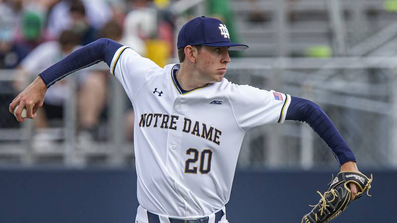 Notre Dame's Tanner Kohlhepp pitches during an NCAA baseball game against Georgia Tech on...