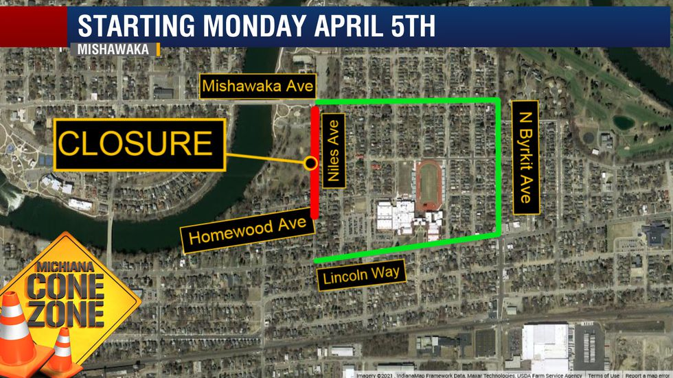City of Mishawaka close Niles Ave. between Mishawaka Ave. and Homewood Ave. for utility and...