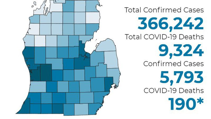 There have been 9,324 deaths and 366,242 confirmed cases throughout the state.
