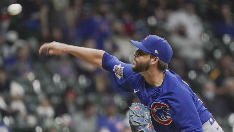 Chicago Cubs relief pitcher Ryan Tepera throws during the fifth inning of a baseball game...