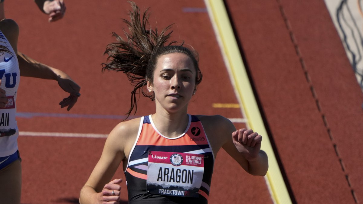 Dani Aragon wins the second heat in the women's 1500-meter run at the U.S. Olympic Track and...