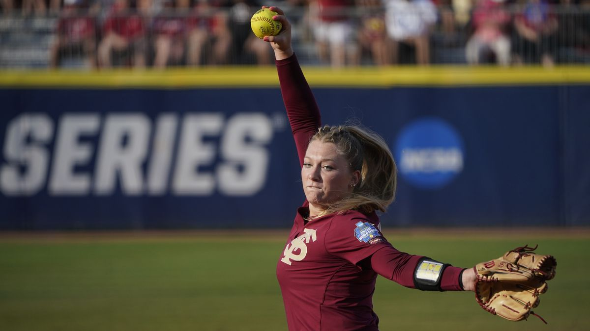 Florida State's Danielle Watson pitches in the first inning against Oklahoma during the first...