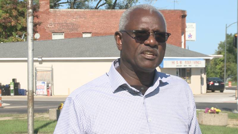 Benton Harbor Pastor James Childs reacts to a shootout that happened near a playground.