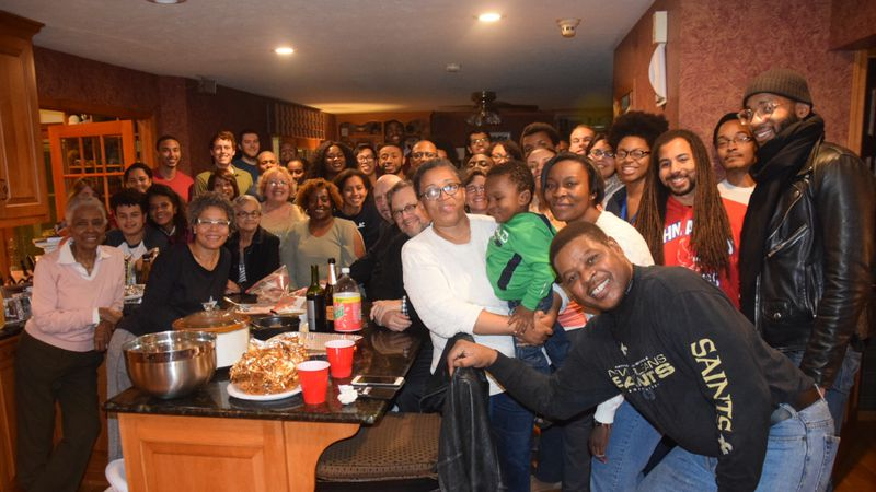ND students following a meal at the home of Dr. Jan Sanders and Leo McWilliams on Thanksgiving
