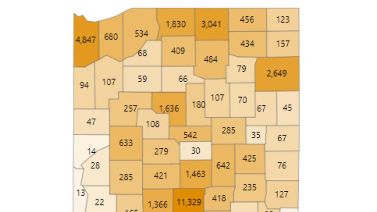 The number of cases per county on June 30, 2020.