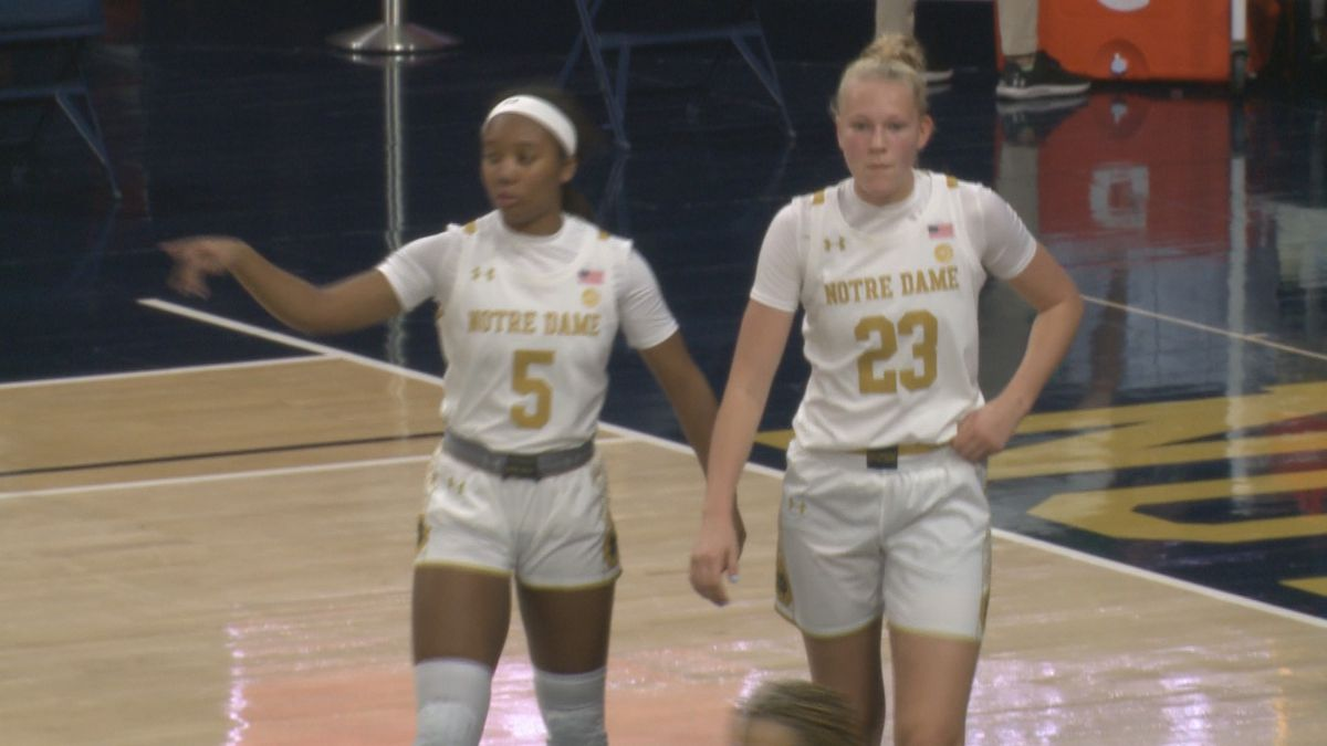 Alasia Hayes and Alli Campbell take the floor at Purcell Pavilion in a match up with Miami of...
