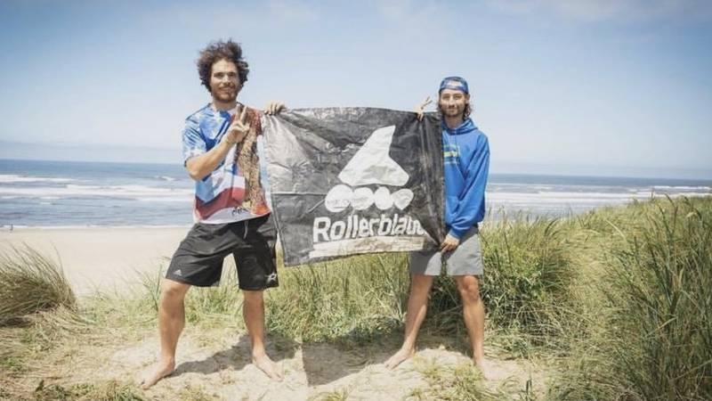Stephen Johns celebrates his Mental Miles journey on the Pacific Ocean in Oregon.