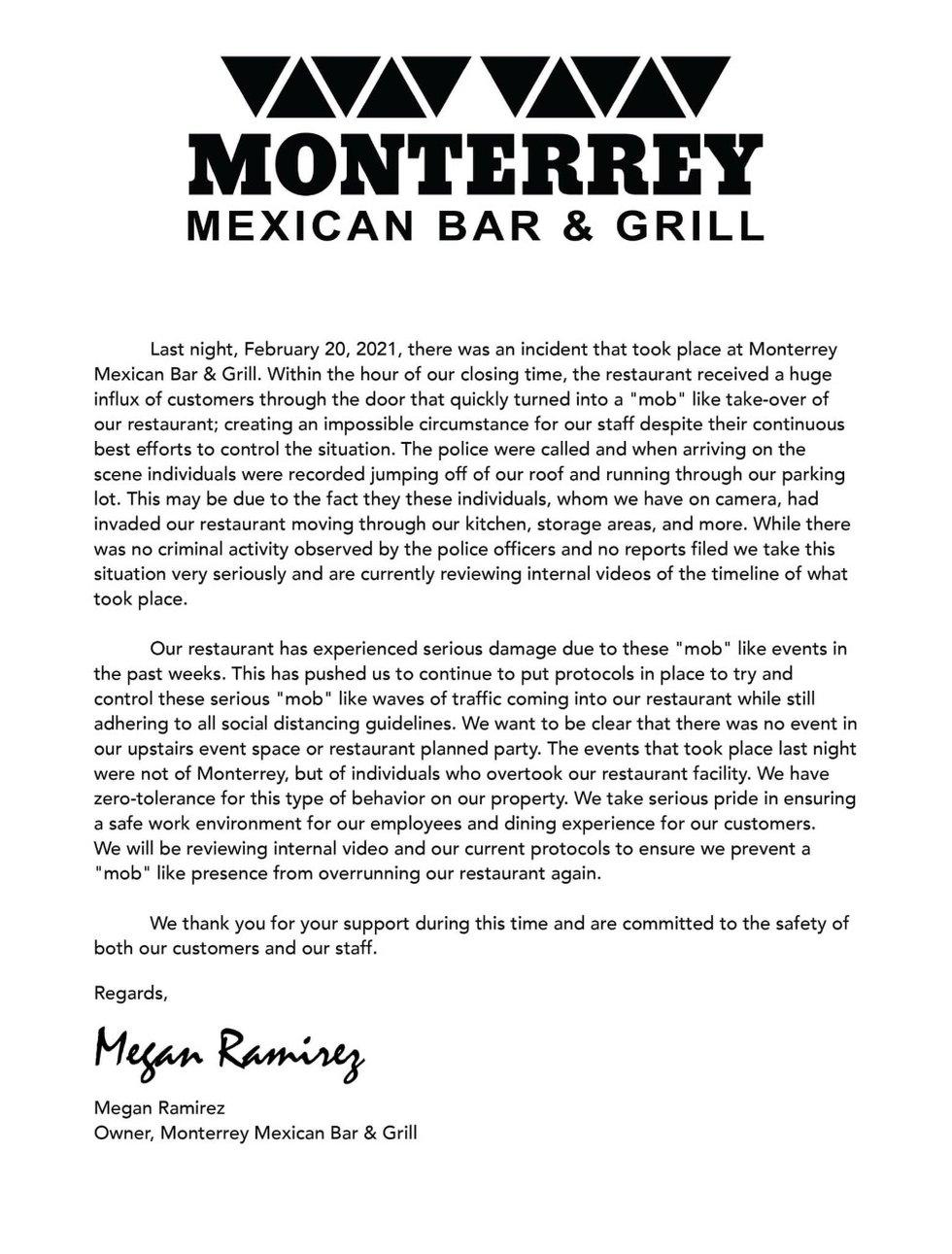 Monterrey Bar and Grill statement