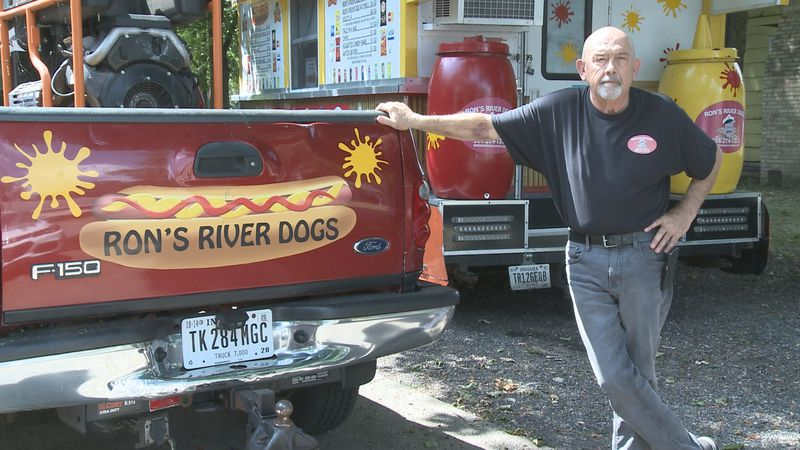 Ron Simons, owner of Ron's River Dogs in Elkhart, says his hot dog business has taken a huge...
