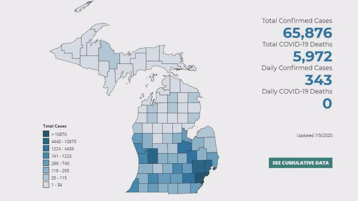 MI reports 0 new coronavirus deaths, 343 new cases