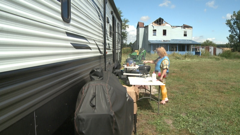 Woman in Bourbon, Ind. living in temporary home that zoning board says is against code.