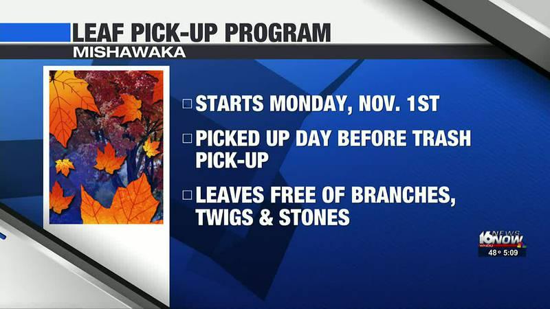 Leaf pickup starts at the start of November for Mishawaka residents.