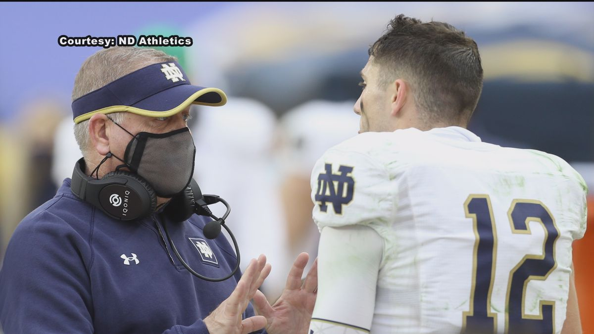 Head coach Brian Kelly says he's challenging his players to elevate their compete level and not...