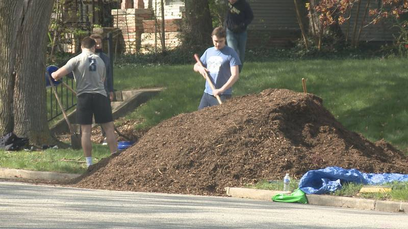 Students spread mulch to neighbors in the area as an annual service to educate the public on...